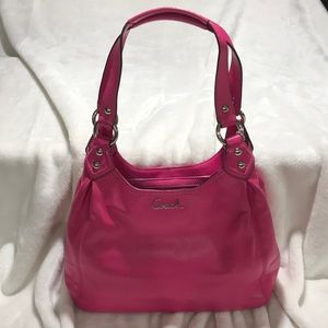 Coach hot pink leather satchel